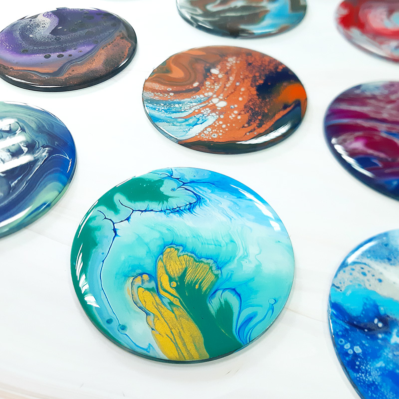 Acrylic Pour Coaster Workshop   Fun & Easy Art Class   Room To Imagine